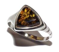 Sterling Silver & Green Amber Dress Ring - UK Size: N