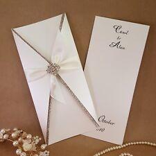 Alana glitter pocket wedding invitation with diamante & rose gold trim