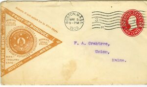 Envelope (5) Chapin Bros Boston Massachusetts to Union Maine 1909-1915