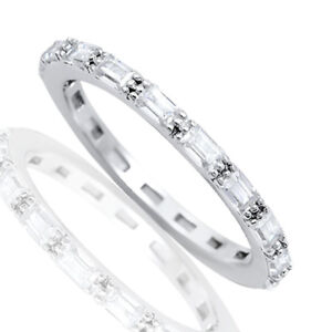 Baguette Simulated Diamonds Eternity Pronged Stack Genuine Sterling Silver Ring