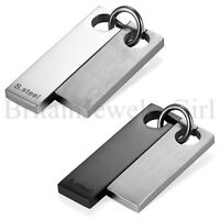 """Men High Polished Stainless Steel 2pcs Double Dog Tag Pendant Necklace 22"""" Chain"""