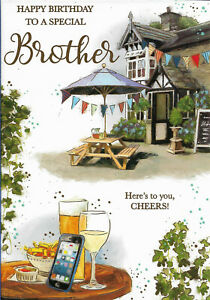 "BROTHER BIRTHDAY GREETING CARD 7""X5"" PUB SCENE FREE P&P"
