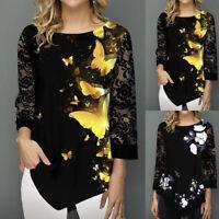 Womens Round Neck Shirt Lace Long Sleeve Shirt Print Irregular Hem Casual Tops