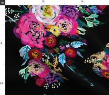 New listing Bright Floral Painting Black Colorful Spring Spoonflower Fabric by the Yard