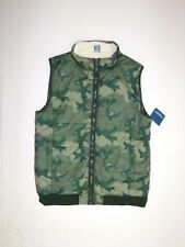 Arizona Jean Co Puffer Jacket Vest Boys Xlarge Green Camo Zip Up Lined Filled