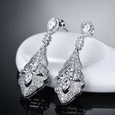 Best Women Engagement White Sapphire Crystal Silver Gold Filled Dangle Earrings
