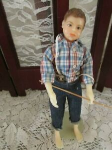 """Tom Sawyer, 10"""" Resin doll, Nice Condition, clothes nice, fishing pole"""