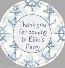 24 x 40mm Personalised Stickers Anchor Round Nautical Party Pale Blue Labels