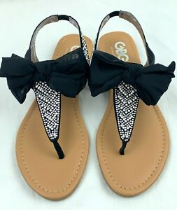 Women Sandal Guess GBG Los Angeles Beautiful Black Bow Jeweled Open Toe Thong S7