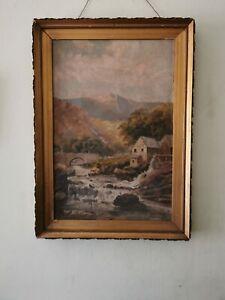Original Vtg Antique Oil Painting Traditional Scene Welsh Landscape? Framed A/F