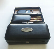 1 Personalized Engraved Black Folding Cigar Case & Cigar Cutter Groomsmen gift