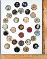 Card of 30 Fabric Buttons #5, Assorted Styles / Embellishments, Various Ages