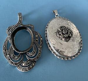 Two Vintage 925 Silver Large Marcasite Pendants In Need Of Repair
