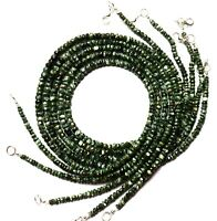 """Natural Gem Seraphinite 4 to 6MM Size Faceted Rondelle Beads Necklace 17"""" 75Cts."""