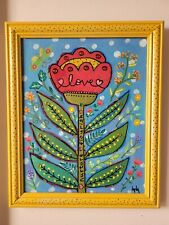 Folk Art ORIGINAL Framed Flower Tulip Leaf Whimsical Love Heart Flourish Nurture
