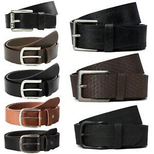 Jack & Jones Mens New Genuine Leather Belt and Faux Leather Belt Black Brown