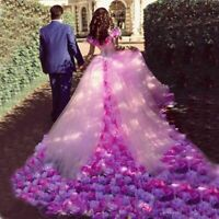 Pink Flower Bridal Quinceanera Dress Ball Gowns Prom Pageant Wedding Dresses