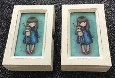 2 SANTORO GORJUSS WHITE WOODEN ANTIQUE LOOKING TRINKET BOXES JEWELLERY BOXES NEW