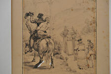 XIXe - Jules GARNIER(1847-1889)Dessin original à la plume et Lavis d'encre