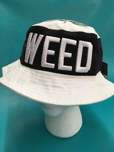 RDST White Marijuana Weed Bucket Boonie Hat. L XL 100% Cotton