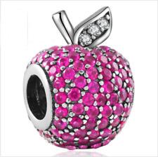 Apple Silver European Charm Pink Crystal Spacer Beads Fit Necklace Bracelet DIY