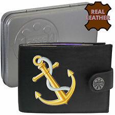 Ships Anchor Klassek Leather Mens Wallet Sailing Navy Captain gift Metal Tin