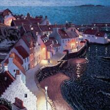 Evening Stroll - Art Blank Greeting / Birthday Card - Harbour Night Sea Village