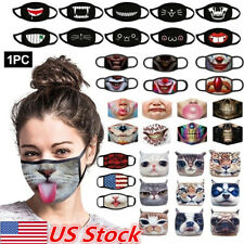 3D Print Funny Face Mask Protective Cover Washable Printed Adult Unisex Party US