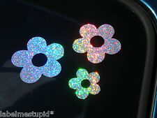 HOLOGRAPHIC Flowers Stars or Hearts Car Stickers Silver Speckled Car Decals
