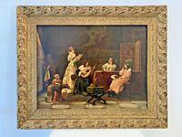 TABLEAU ANCIEN CHROMOLITHOGRAPHIE XIXÈME, SCÈNE D'INTÉRIEUR, JOUEUSE MANDOLINE