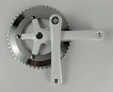 White LASCO CF12 Fixed Gear Track Bike Single Speed Crankset 170mm 48T Chainring