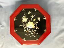 Vintage Chinese Wood Lacquer Box with Mother of Pearl Decoration