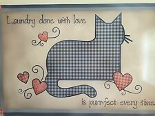Blue Checkered Country Cat Washer Magnet