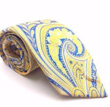 $100 Geoffrey Beene Mens Blue White Paisley Silk Tie Classic Slim Necktie 60x3