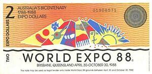 Australia $2 4.30.1988 Bicentennial Commemorative World Expo Circulated Banknote