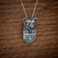 Handcast 925 Sterling Silver Grizzly Bear Native Totem Pendant FREE Cable Chain