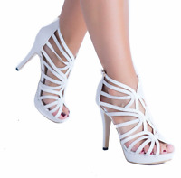 New Womens Ladies High Heel Platform Gladiator Sandals Ankle Zip Shoes Size 3-8