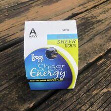Vtg L'eggs Sheer Energy Tights Navy Sz A Medium Support Leg Control Top 95702