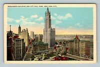 New York City NY, Woolworth Building, City Hall Park, Vintage New York Postcard