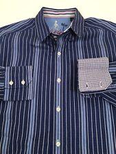 """Robert Graham """"Old Money"""" Wall Street Blue Shirt Flip Cuffs L Men's (size) Large"""