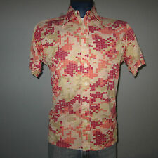 vtg L 1960-70s hippy Donegal alligator skin Geometric Polyester disco Mod Shirt