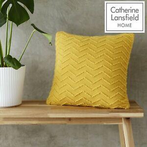 Catherine Lansfield Cushions Chevron Knit Tight Knit Scandi Filled Cushion Ochre