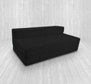 Fold Out Foam Guest Z Bed 2 Seater Folding Futon Double Sofa Mattress - BLACK