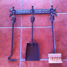 Hand Forged Fireplace Tools 4 Pieces Set Wall Hanging Wall Mounted