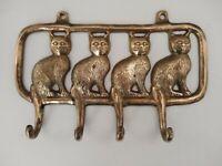 Vintage Solid Brass Wall Hooks Sitting Cats Kittens Hat Coat Key Hanger Tails