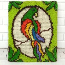 Vintage Parrot Completed Latch Hook Rug Wall Hanging Tiki Rainbow Tropical Decor