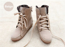 New Women Girls BEIGE Ankle Martin Boots Flat Lace up short Suede Booties Shoes