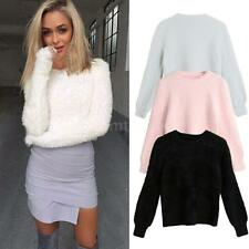 Women Ladies Warm Winter Knitted Loose Sweater Coat Fluffy Jumper Pullover Q4X4