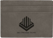 """4"""" x 2 3/4"""" Gray Leatherette Wallet Clip with Personalization"""