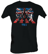 Beatles Union Jack Abbey Road Mens T-shirt Black Medium NEW Official RRP £28
